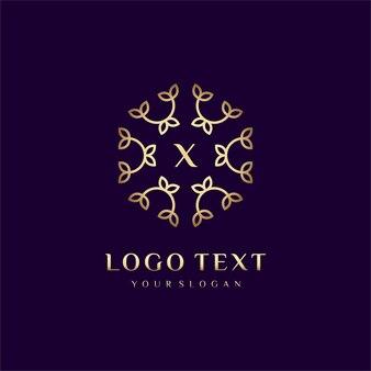 Luxury logo concept design letter (x) per il tuo marchio con decorazione floreale