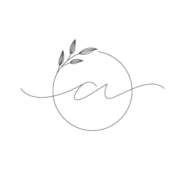 Design del logo di lusso iniziale, con linea pulita e natura fogliare