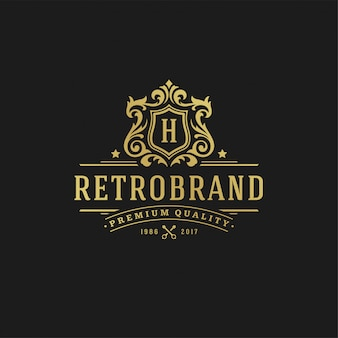 Lettera di design del logo di lusso h