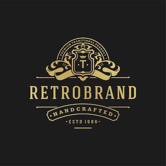 Modello di progettazione di logo di lusso. scenette vittoriane ornamento forme design.