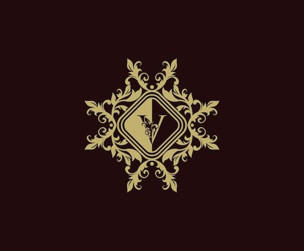 Design del logo di lusso con iniziale v. modello di logo elegante fiorisce.
