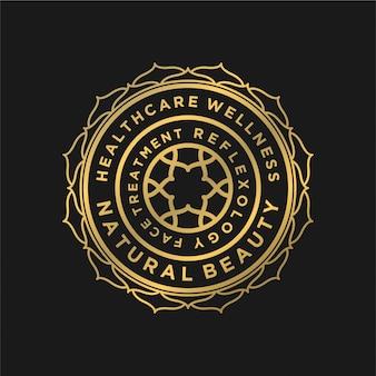Design del logo di lusso per la salute dello yoga e spa