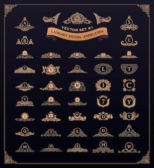 Set di loghi di lusso vintage fiorisce emblemi antichi