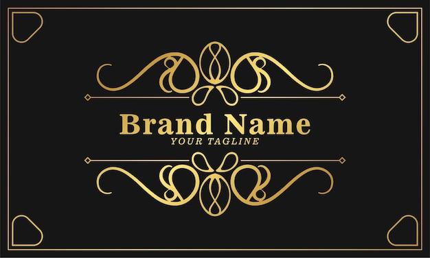 Il modello di logo di lusso fiorisce linee eleganti di ornamento di calligrafia