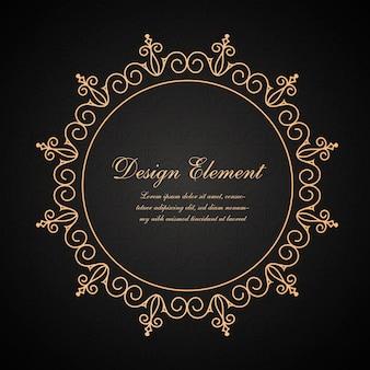 Modello di logo di lusso vintage dorato fiorisce ornamento