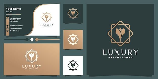 Logo di lusso con concetto di fiore al tratto e design di biglietti da visita vettore premium