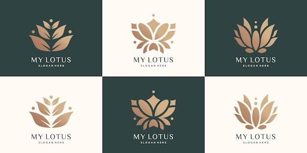 Set logo di lusso lotus logo astratto creativo natura fiore di loto vettore premium premium
