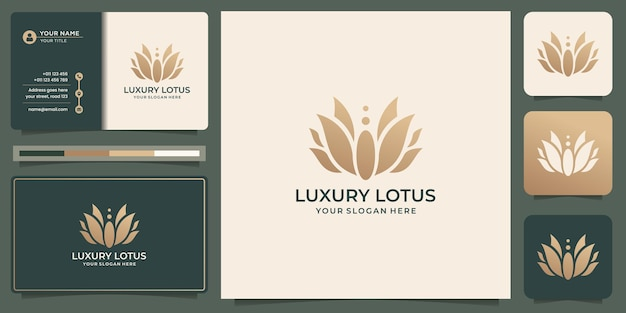 Design del logo di lusso con rosa di loto. concetto astratto del loto del fiore con il modello di progettazione del biglietto da visita.