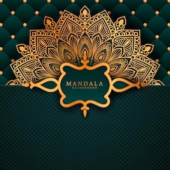 Arte di mandala di lusso con sfondo arabo