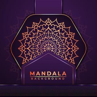 Design di sfondo di mandala di lusso con decorazione in stile islamico arabo di colore dorato