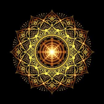 Sfondo di mandala di lusso con arabeschi d'oro in stile arabo islamico orientale