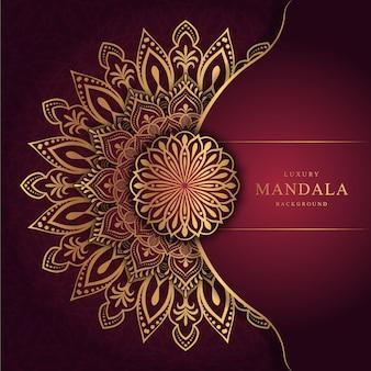 Sfondo mandala di lusso con arabeschi dorati arabi in stile orientale islamico