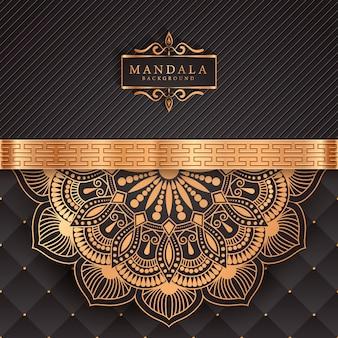Sfondo di mandala di lusso con arabeschi dorati modello arabo stile islamico