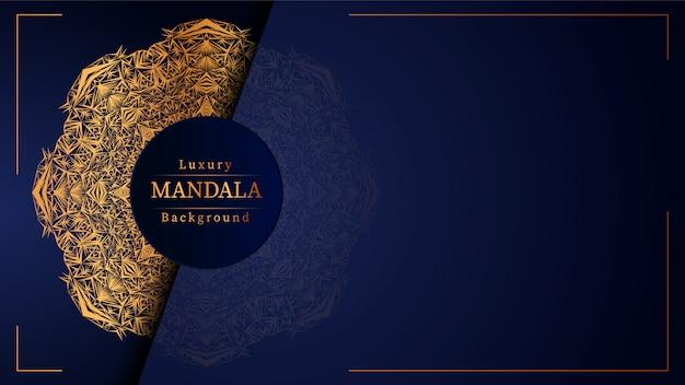 Mandala di lusso sfondo blu