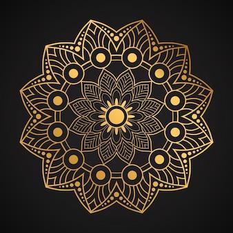 Design mandala di lusso con stile dorato