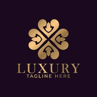 Mandala di lusso e modello di progettazione del logo ornamentale dorato per il settore delle attività termali e dei massaggi