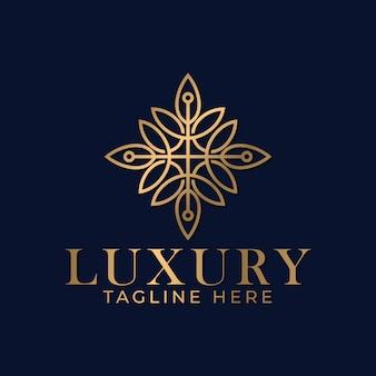Mandala di lusso e modello di progettazione del logo ornamentale dorato