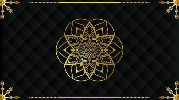 Mandala di lusso sfondo di disegno arabesco islamico in colore oro