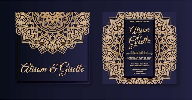 Modello di invito a nozze mandala di lusso