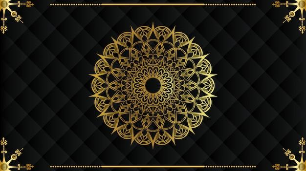 Mandala di lusso con motivo arabesco dorato arabo stile islamico reale