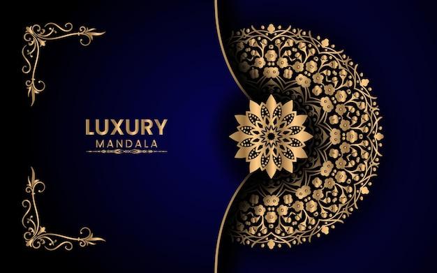 Mandala di lusso con sfondo islamico arabo dorato vettore premium