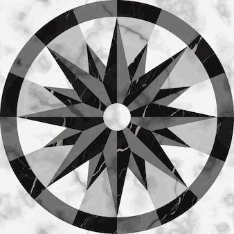 Reticolo senza giunte del segno della bussola di marmo di lusso ripeti gli elementi di superficie della rosa dei venti marmorizzati