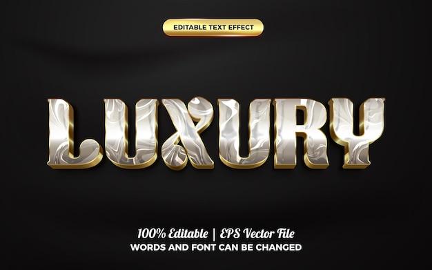 Modello di stile effetto testo modificabile 3d in marmo oro di lusso