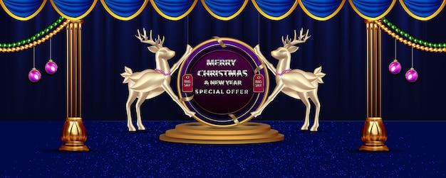 Banner di promozione di buon natale e anno nuovo di lusso