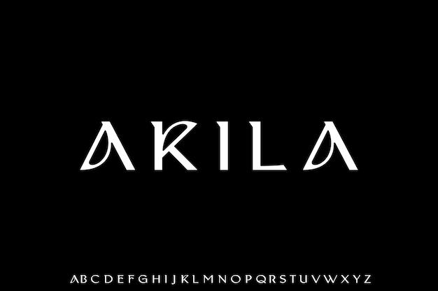 Set di alfabeto del carattere sans serif geometrico minimalista di lusso