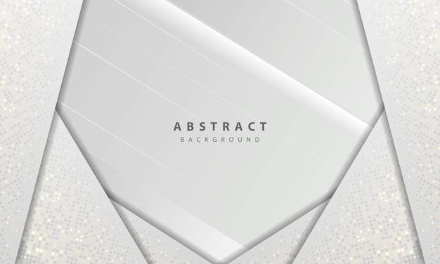 Texture di lusso e concetto moderno con decorazione elemento puntini glitter argento. sfondo astratto bianco con forme di carta si sovrappongono a strati.