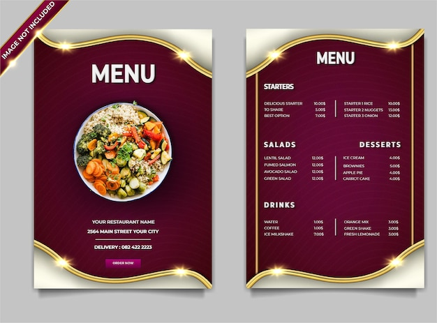 Set di modelli di post di insalate di cibo moderno di lusso