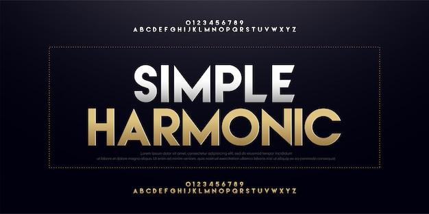 Carattere moderno di lusso in oro argento alfabeto sans serif Vettore Premium