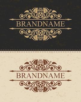 Modello di logo monogramma di lusso con elementi di ornamento elegante calligrafico fiorisce.