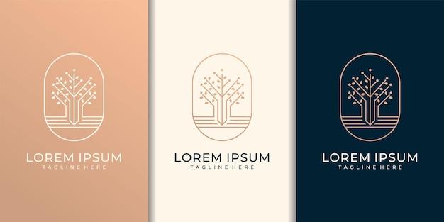 Design di lusso monogramma moderno albero foglia logo con modello di biglietto da visita.