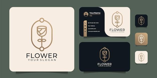 Boutique di bellezza del salone della stazione termale del logo del fiore della rosa del monogramma di lusso