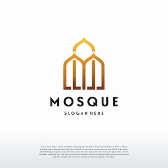 Vettore di progettazione del modello di logo della moschea di lusso, modello di logo islamico