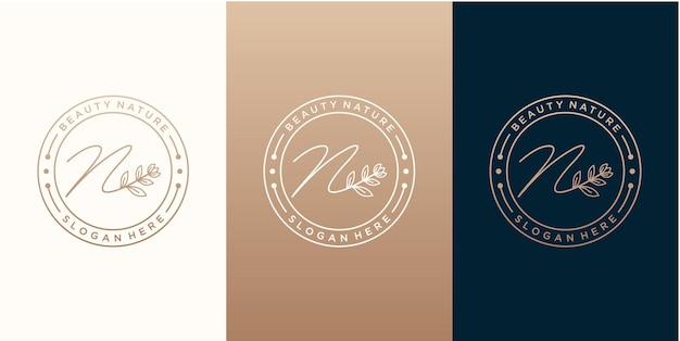 Modello di progettazione del logo botani natural di lusso