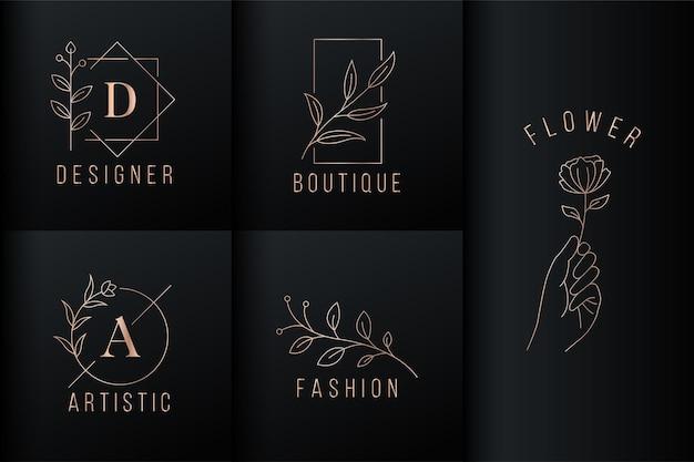 Logo di lusso con foglia naturale e rosa