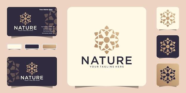 Logo geometrico della natura di lusso e ispirazione per biglietti da visita