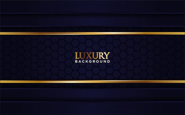 Sfondo blu navy di lusso con linea d'oro
