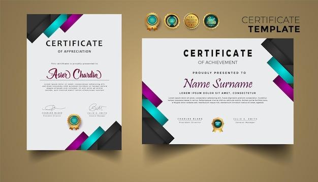 Nuovo certificato moderno di lusso con badge e modello premium