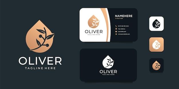 Insieme di progettazione di logo della pianta della stazione termale dell'olio d'oliva di lusso.