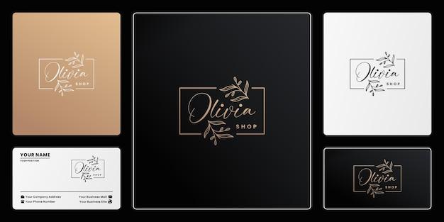 Design del logo del marchio olivia nature di lusso. fogliame disegnato a mano, boutique dorata