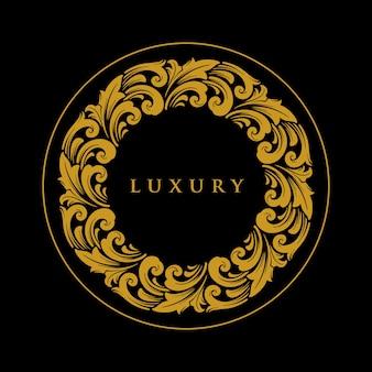 Emblema di lusso ornamento cerchio oro logo