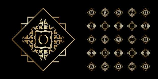 Cornice floreale ornamento di lusso per alfabeto iniziale e modello logo sfumato dorato