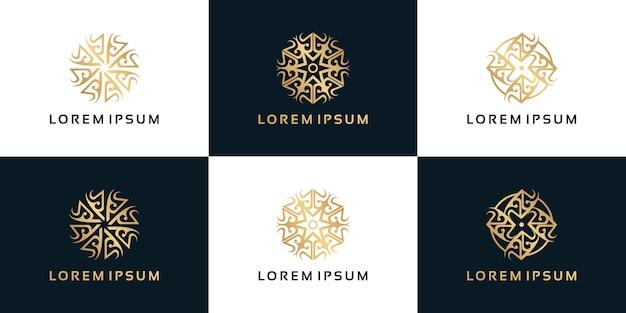 Logo di fiori di ornamento di lusso, cosmetici, yoga, salone di bellezza e altro, riferimento logo per le imprese