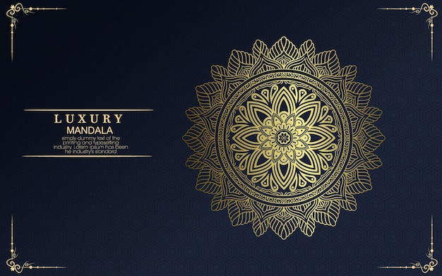 Sfondo di mandala dorato ornamentale di lusso, stile arabesco.