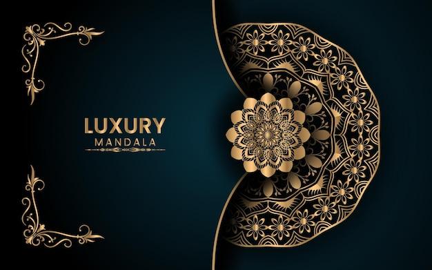 Sfondo islamico di lusso arabesco mandala ornamentale per milad un nabi festival vettore premium