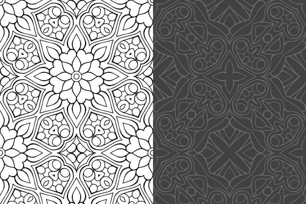 Insieme del reticolo senza giunte di lusso ornamentale mandala design.