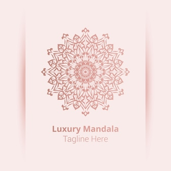 Logo di mandala ornamentale di lusso, stile arabesco. Vettore Premium